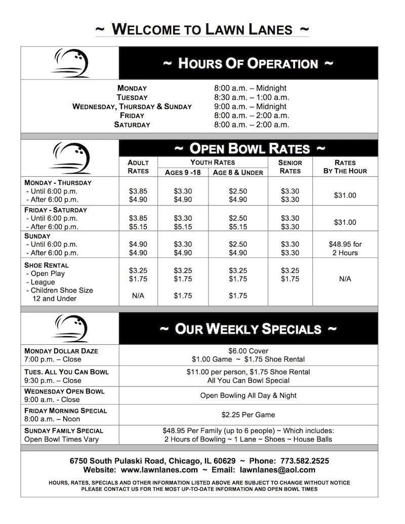 Hours and Price Sheet